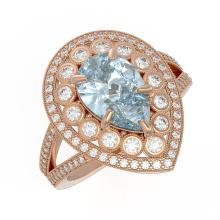 Lot 6001: 3.82 ctw Aquamarine & Diamond Ring 14K Rose Gold - REF-168W7H - SKU:43131