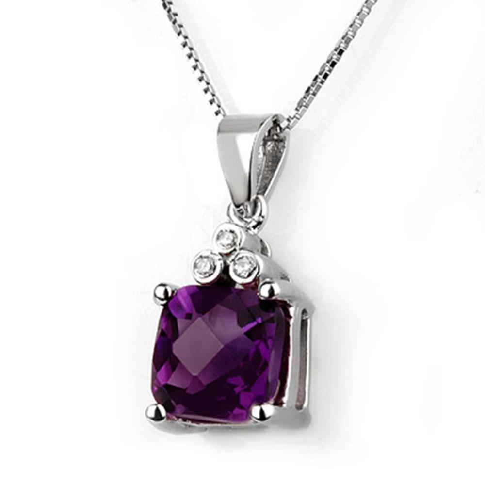 Lot 6043: 3.06 ctw Amethyst & Diamond Necklace 18K White Gold - REF-42M7F - SKU:10376