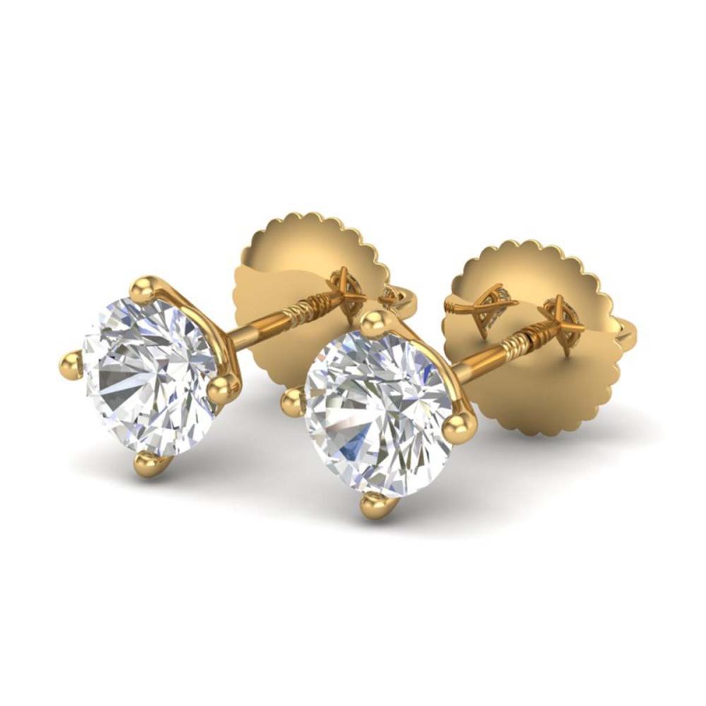 1.01 ctw VS/SI Diamond Solitaire Art Deco Stud Earrings 18K Yellow Gold - REF-180M2F - SKU:37300