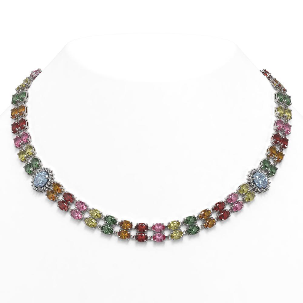 65.29 ctw Sapphire & Diamond Necklace 14K White Gold - REF-699N3A - SKU:44387