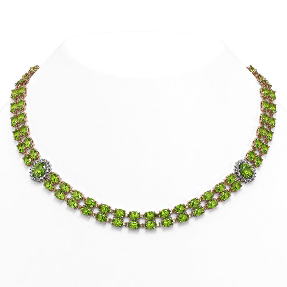 58.69 ctw Peridot & Diamond Necklace 14K Rose Gold - REF-564Y4X - SKU:44367