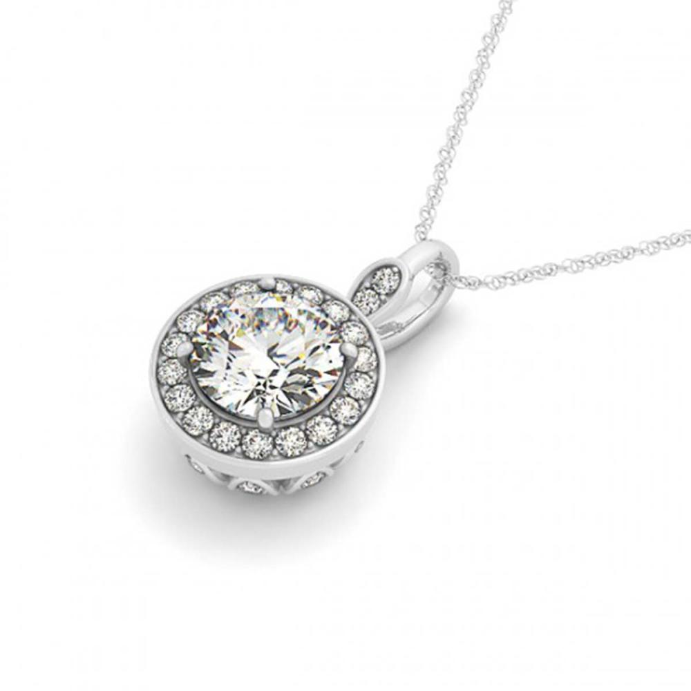 0.75 ctw SI Diamond Halo Necklace 14K White Gold - REF-100W5H - SKU:30150