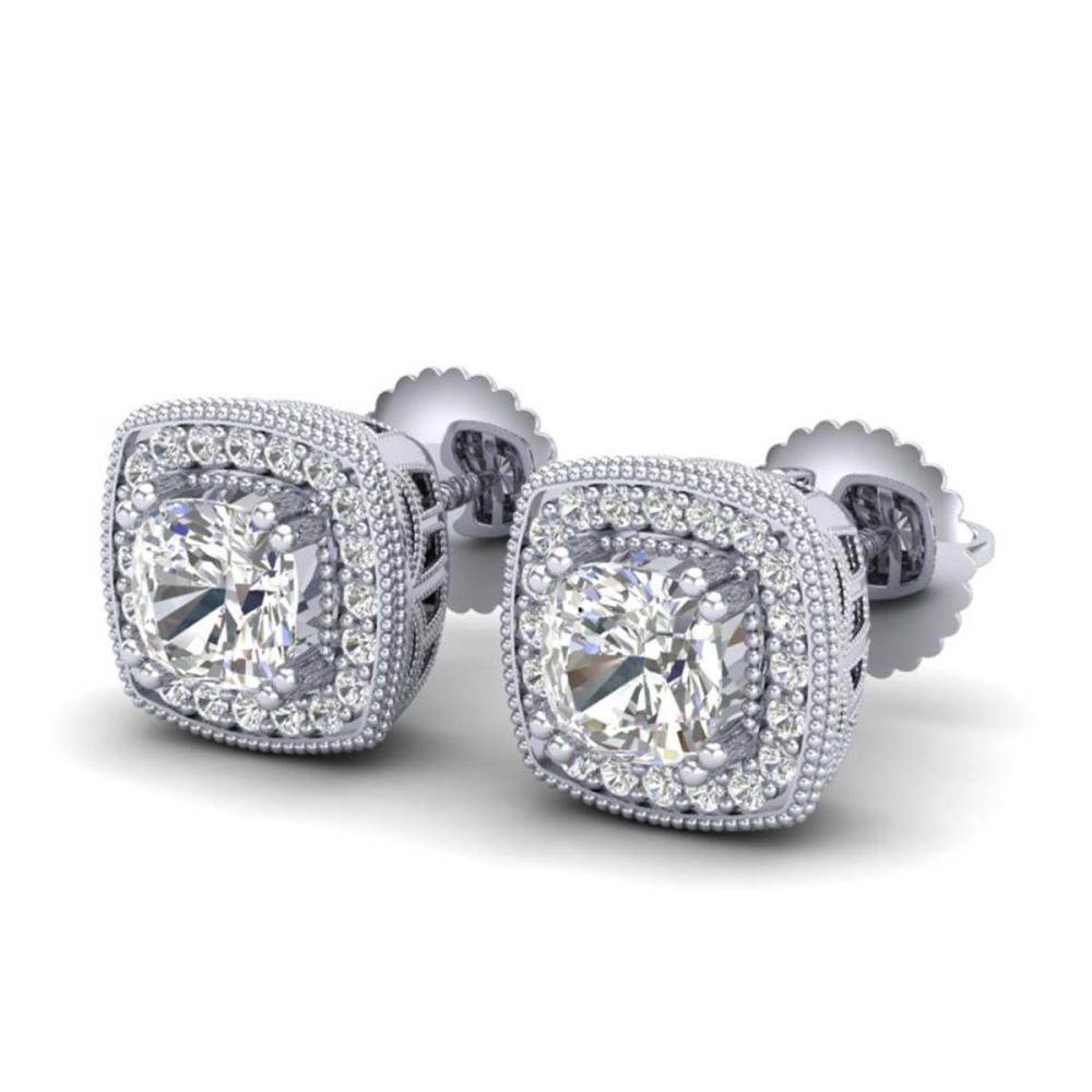 Lot 6045: 1.25 ctw VS/SI Cushion Diamond Art Deco Stud Earrings 18K White Gold - REF-178Y2X - SKU:37034