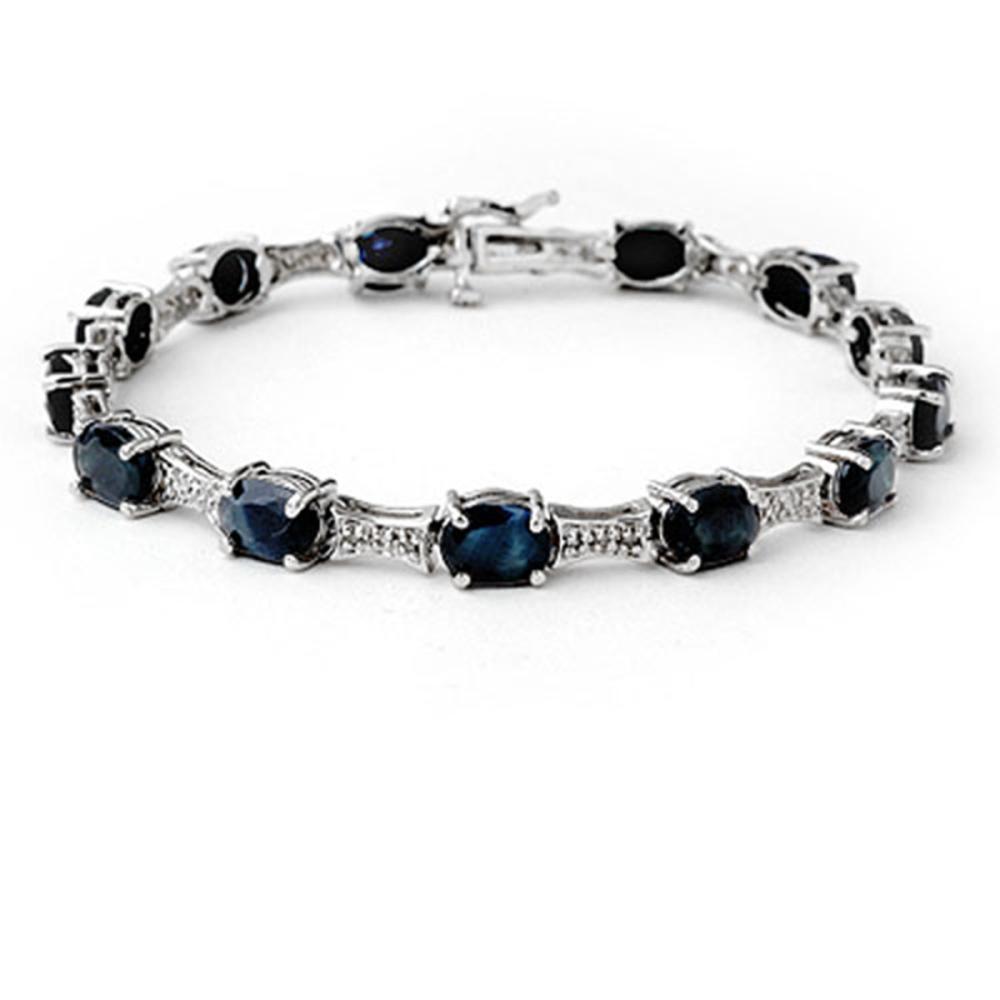 11.39 ctw Blue Sapphire & Diamond Bracelet 14K White Gold - REF-135A6V - SKU:14166