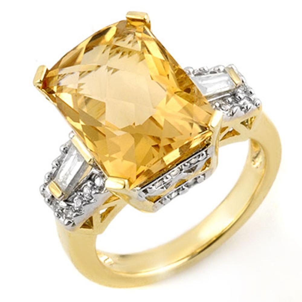 9.55 ctw Citrine & Diamond Ring 10K Yellow Gold - REF-90F2N - SKU:11565
