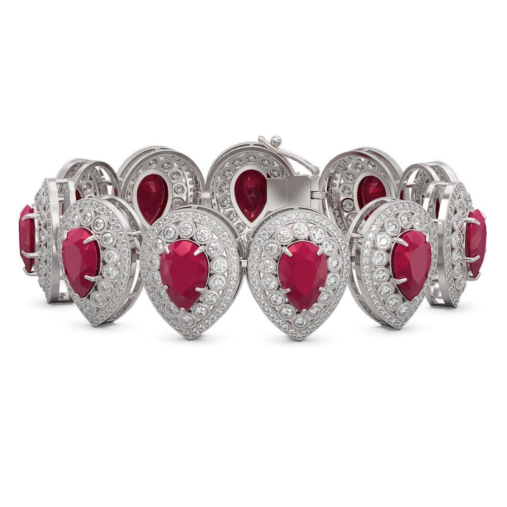 56.04 ctw Ruby & Diamond Bracelet 14K White Gold - REF-1520H7M - SKU:43256