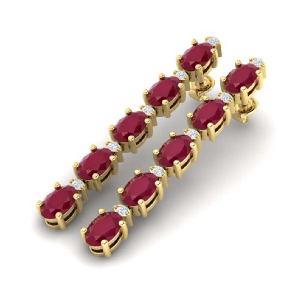 Lot 6066: 12.36 ctw Ruby & VS/SI Diamond Tennis Earrings 10K Yellow Gold - REF-89F3N - SKU:29404