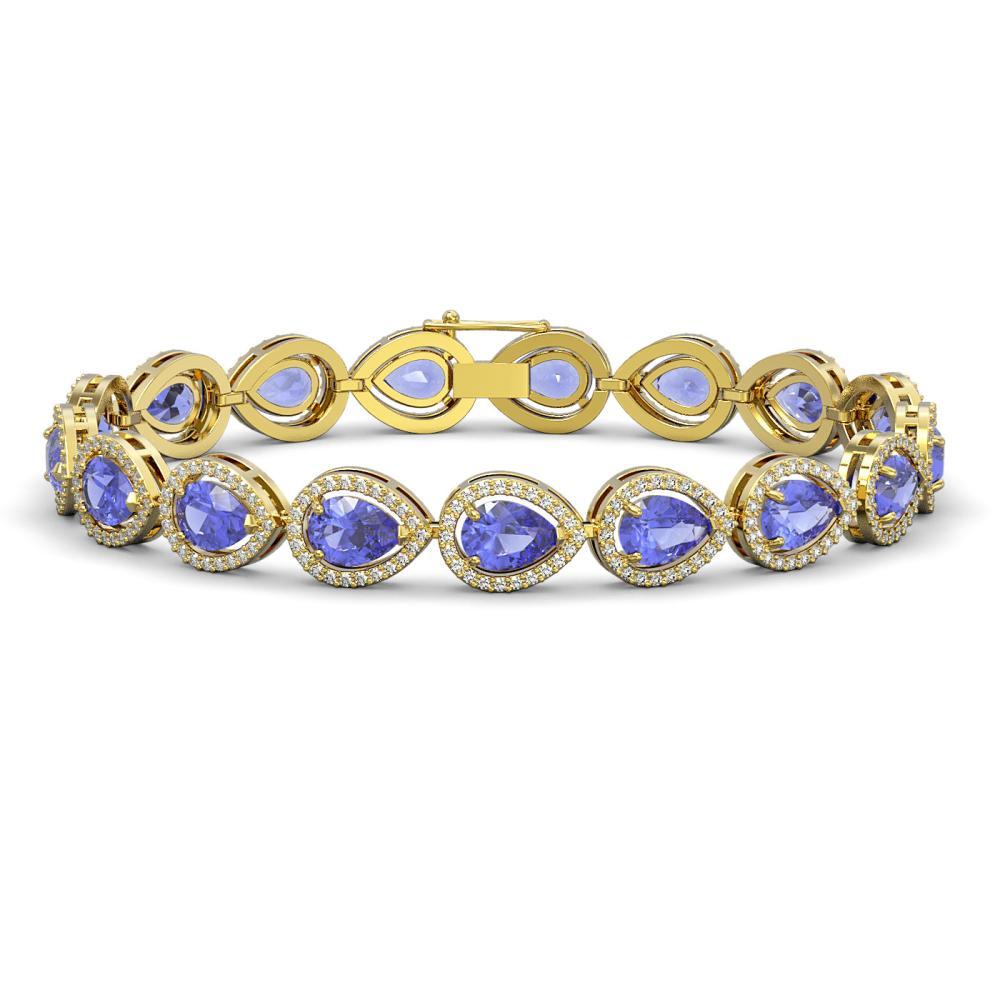 19.14 ctw Tanzanite & Diamond Halo Bracelet 10K Yellow Gold - REF-396N5A - SKU:41101