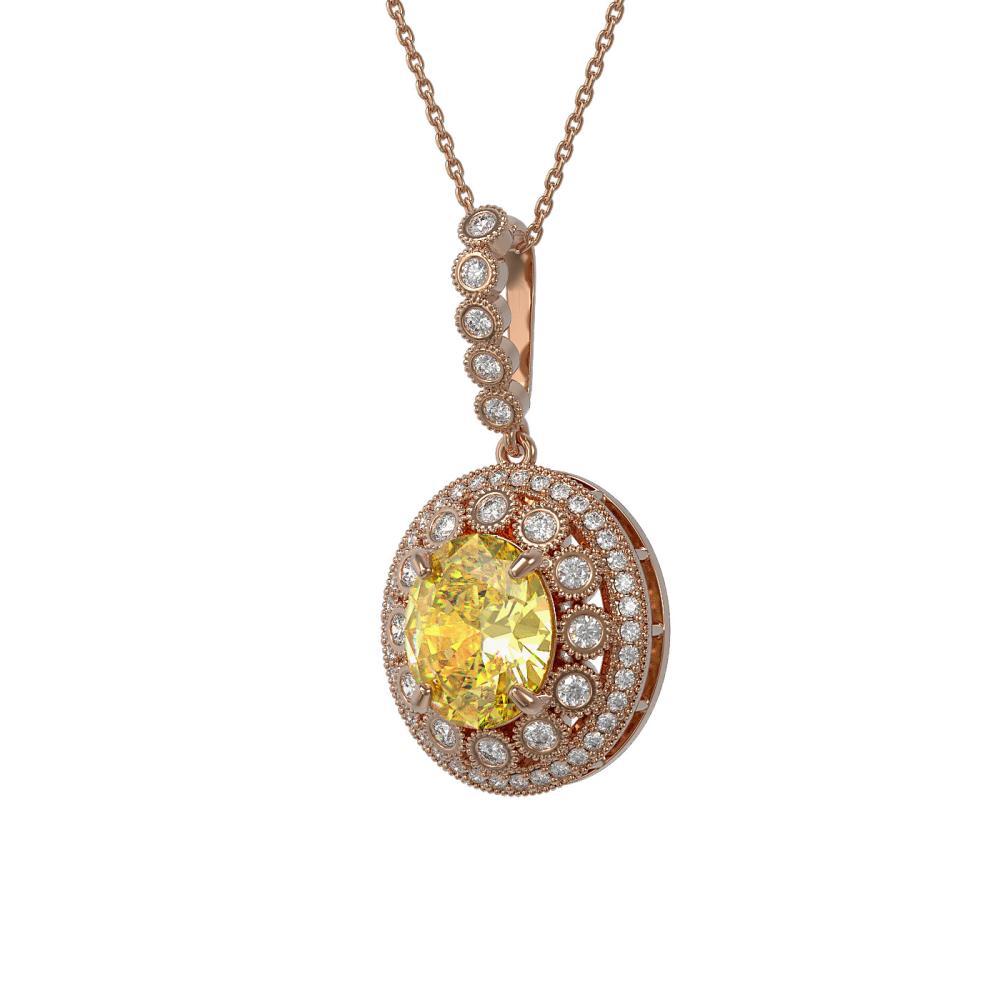 7.66 ctw Canary Citrine & Diamond Necklace 14K Rose Gold - REF-161R6K - SKU:43833