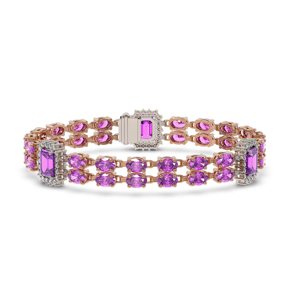 14.81 ctw Amethyst & Diamond Bracelet 14K Rose Gold - REF-232H2M - SKU:45063
