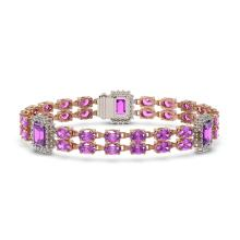 Lot 6057: 14.81 ctw Amethyst & Diamond Bracelet 14K Rose Gold - REF-232H2M - SKU:45063
