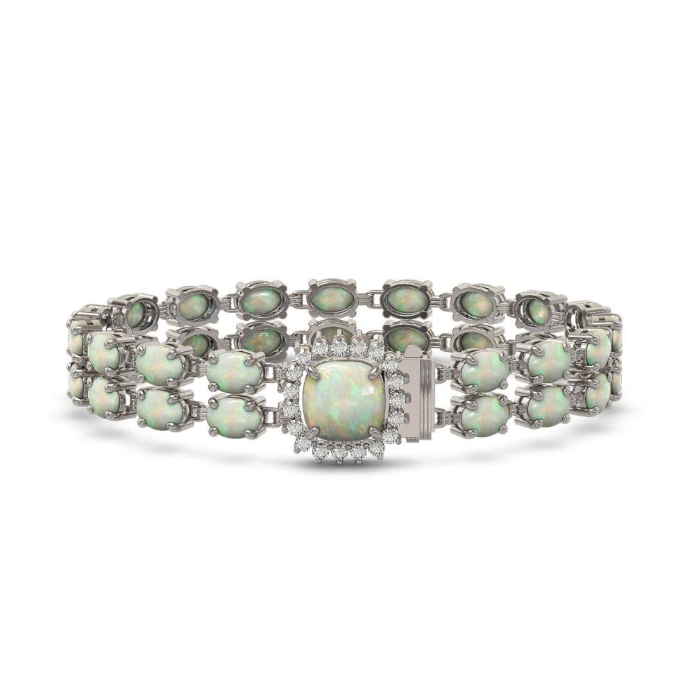 14.41 ctw Opal & Diamond Bracelet 14K White Gold - REF-202A4V - SKU:45608