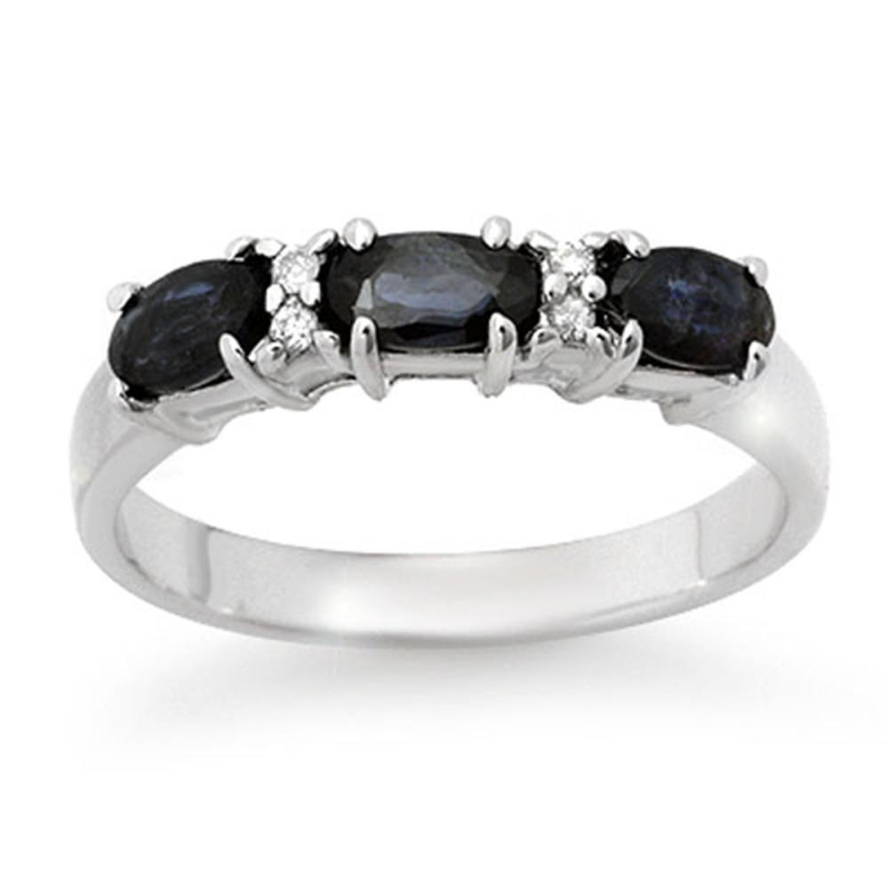 1.09 ctw Blue Sapphire & Diamond Ring 18K White Gold - REF-34R5K - SKU:12339