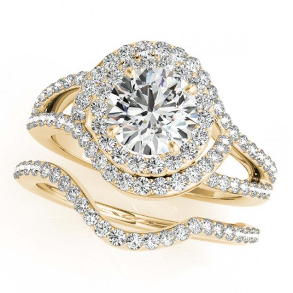 2.22 ctw VS/SI Diamond 2pc Wedding Set Halo 14K Yellow Gold - REF-324F8N - SKU:31267