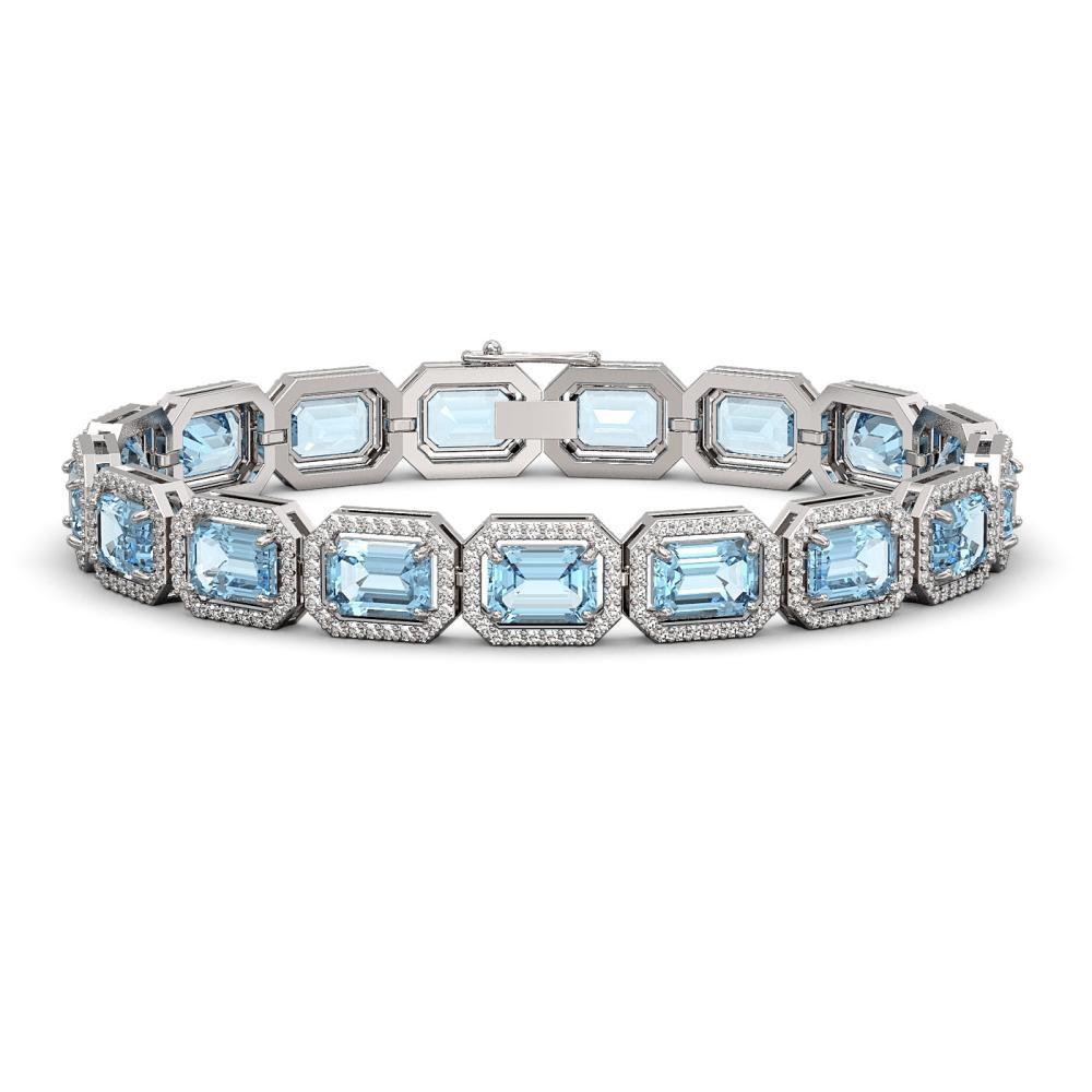 23.66 ctw Sky Topaz & Diamond Halo Bracelet 10K White Gold - REF-303X8R - SKU:41408