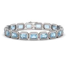 Lot 6072: 23.66 ctw Sky Topaz & Diamond Halo Bracelet 10K White Gold - REF-303X8R - SKU:41408