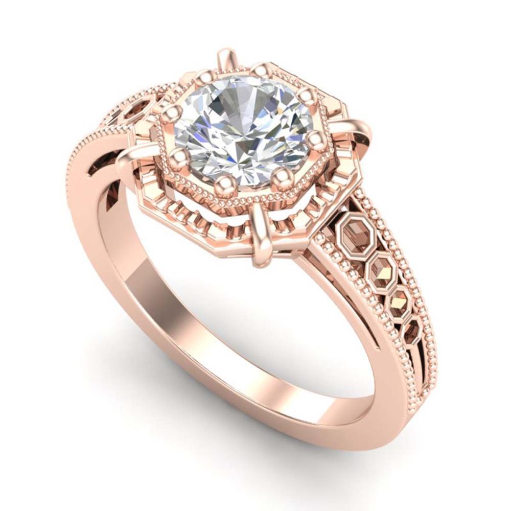 1 ctw VS/SI Diamond Solitaire Art Deco Ring 18K Rose Gold - REF-318K3W - SKU:36873