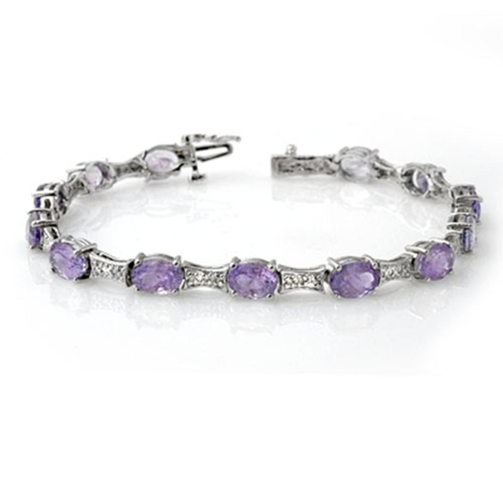 Lot 6080: 12.04 ctw Tanzanite & Diamond Bracelet 14K White Gold - REF-172H7M - SKU:13807
