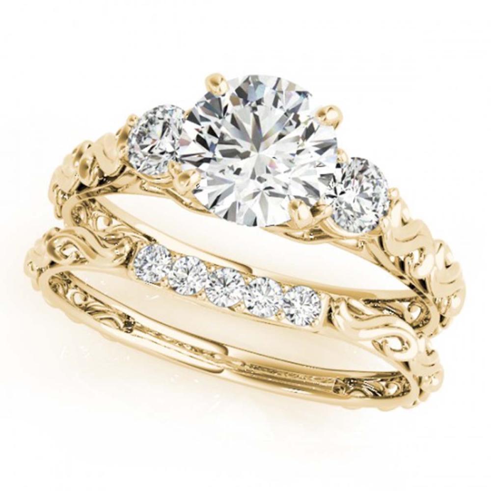1.39 ctw VS/SI Diamond 3 Stone 2pc Wedding Set 14K Yellow Gold - REF-276F2N - SKU:32056