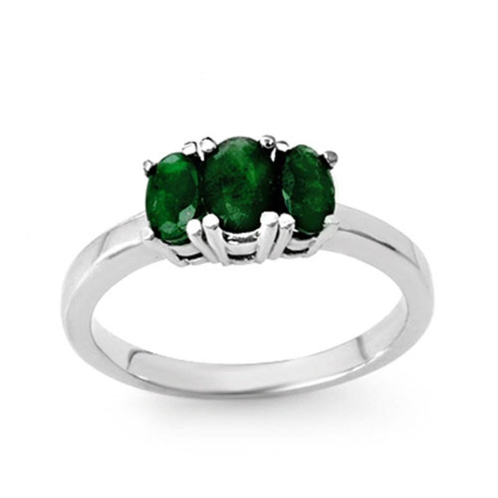 1.0 ctw Emerald Ring 18K White Gold - REF-38K4W - SKU:13828