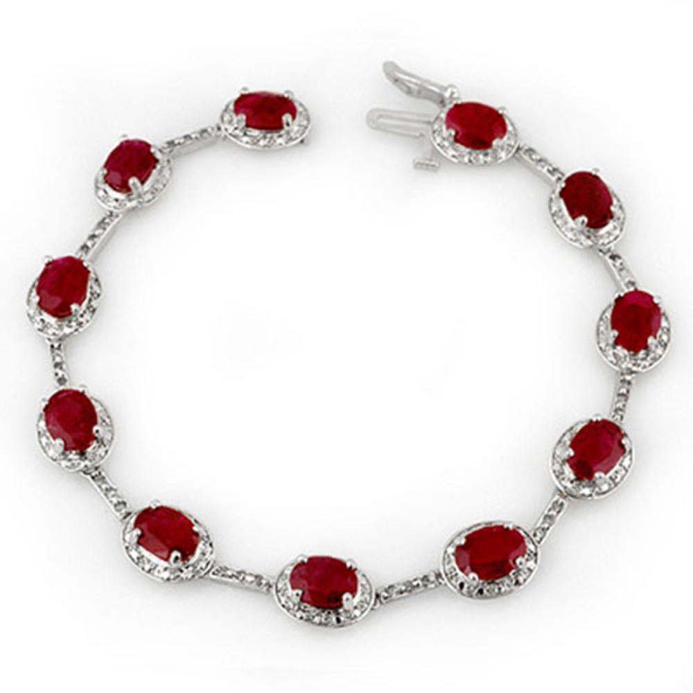 12.40 ctw Ruby & Diamond Bracelet 10K White Gold - REF-125N5A - SKU:10852