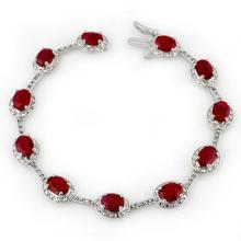 Lot 6078: 12.40 ctw Ruby & Diamond Bracelet 10K White Gold - REF-125N5A - SKU:10852
