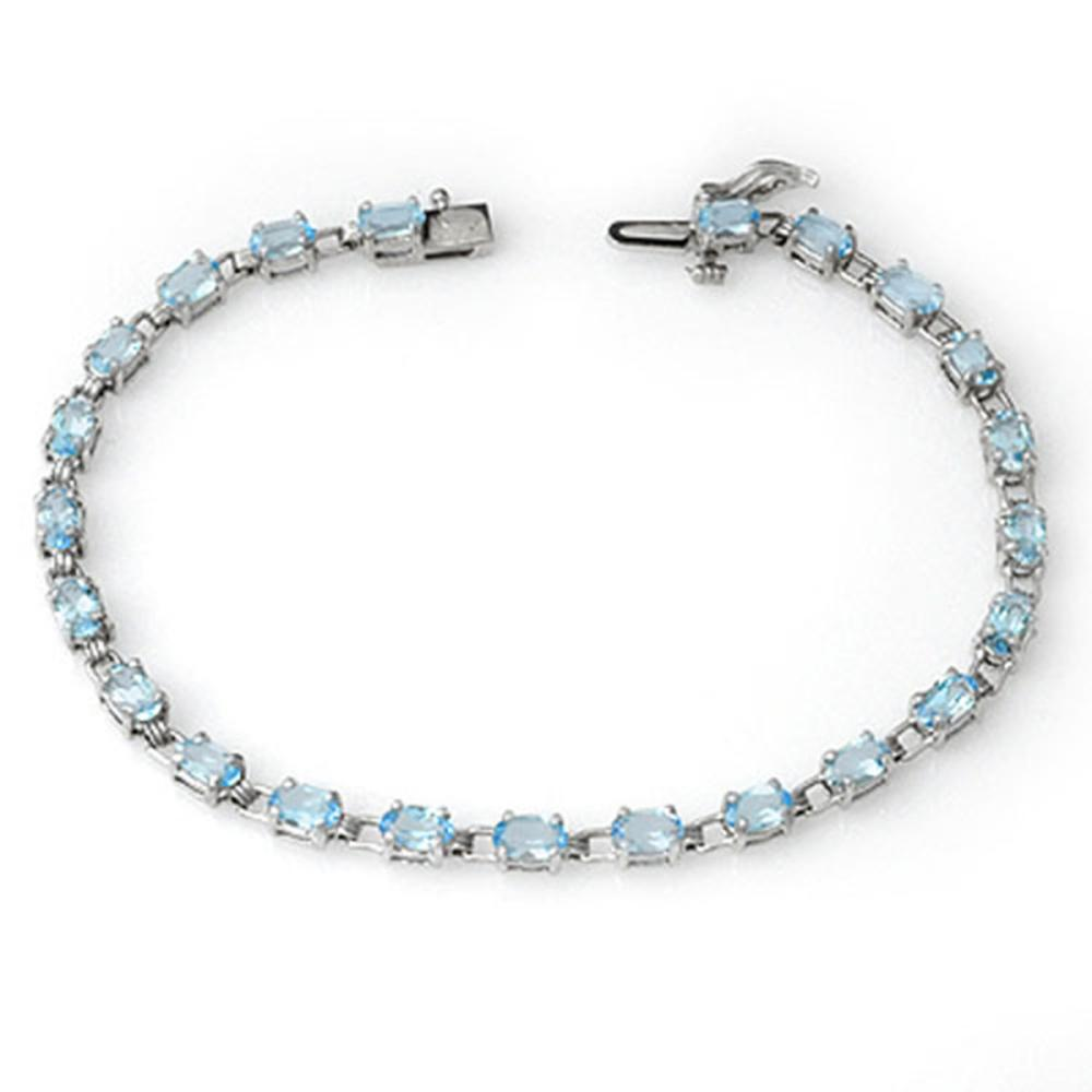 Lot 6089: 8.08 ctw Blue Topaz Bracelet 14K White Gold - REF-68Y5X - SKU:13687