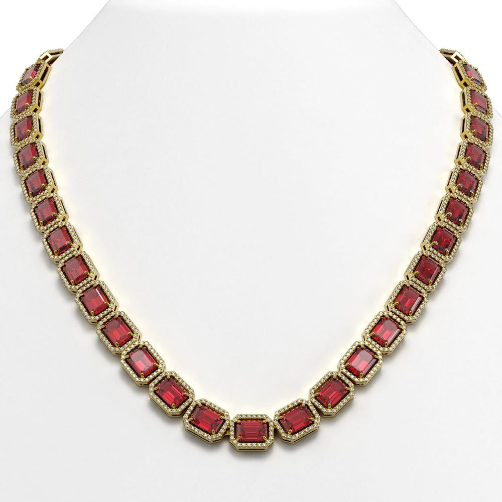 60.49 ctw Tourmaline & Diamond Halo Necklace 10K Yellow Gold - REF-1781X8R - SKU:41350