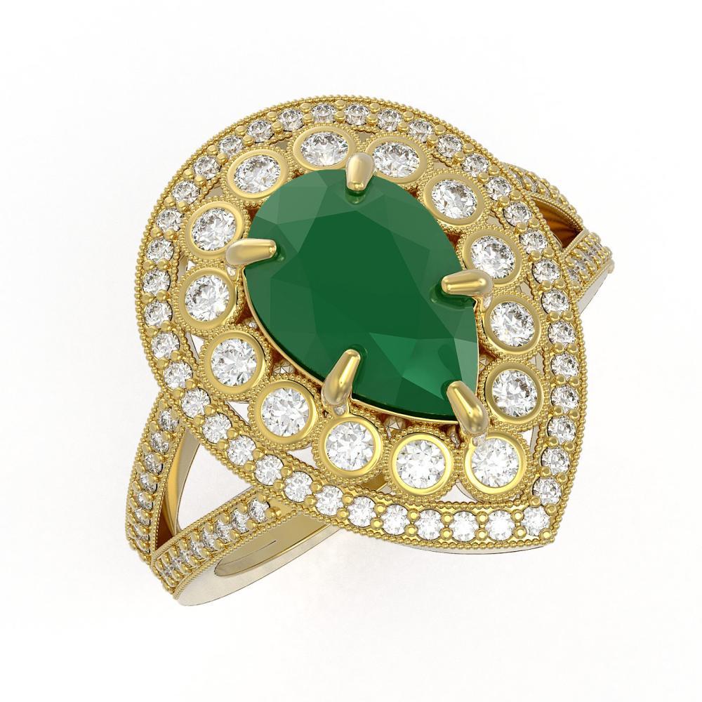 5.12 ctw Emerald & Diamond Ring 14K Yellow Gold - REF-156W5H - SKU:43120