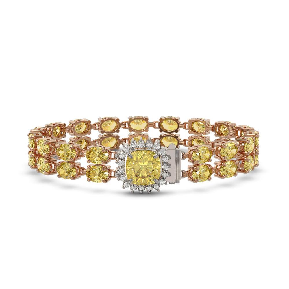 14.21 ctw Citrine & Diamond Bracelet 14K Rose Gold - REF-169M3F - SKU:45636