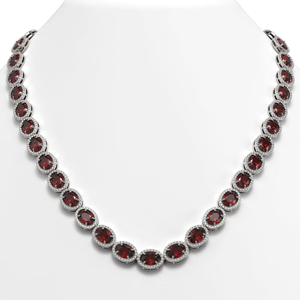 50.08 ctw Garnet & Diamond Halo Necklace 10K White Gold - REF-555Y6X - SKU:40598