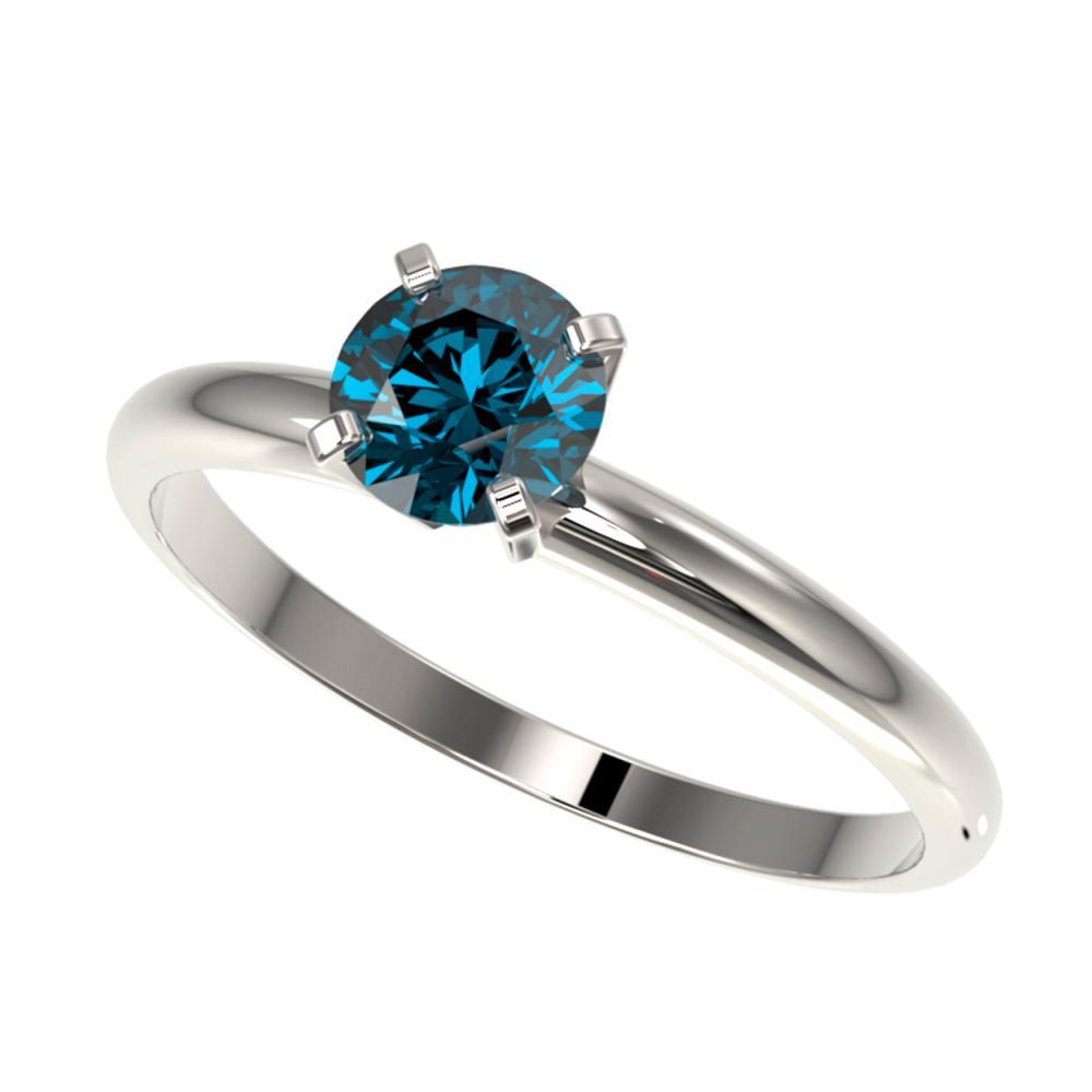 0.75 ctw Intense Blue Diamond Ring 10K White Gold - REF-97W5H - SKU:32880