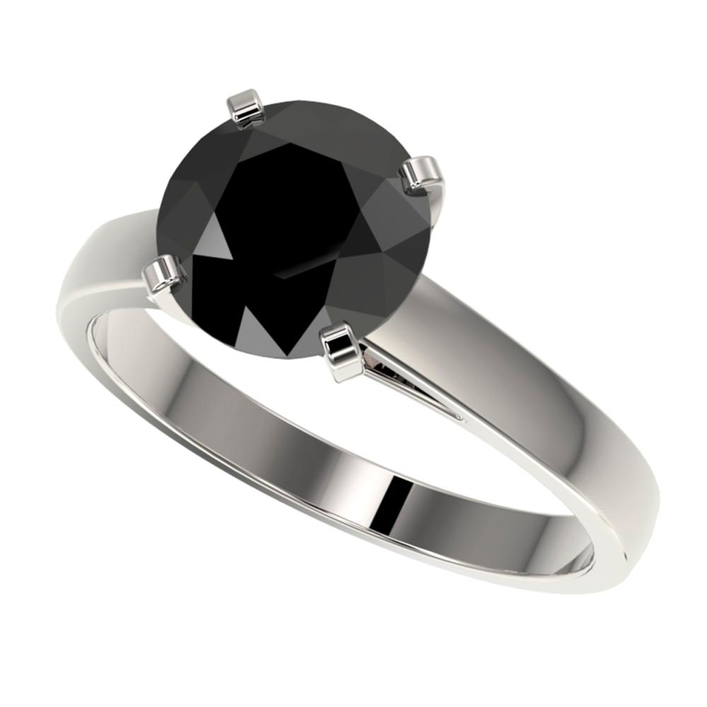 Lot 6093: 2.50 ctw Fancy Black Diamond Solitaire Ring 10K White Gold - REF-55H5M - SKU:33042