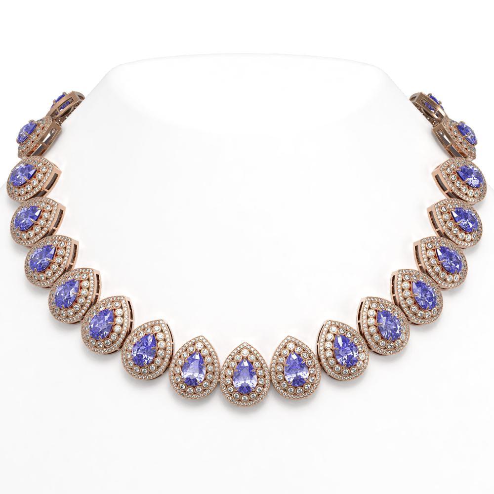 108.42 ctw Tanzanite & Diamond Necklace 14K Rose Gold - REF-4664K5W - SKU:43236