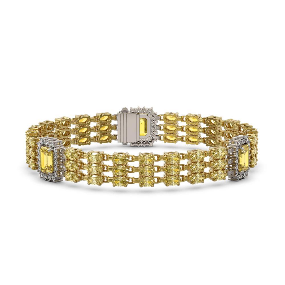22.77 ctw Citrine & Diamond Bracelet 14K Yellow Gold - REF-293K3W - SKU:45409