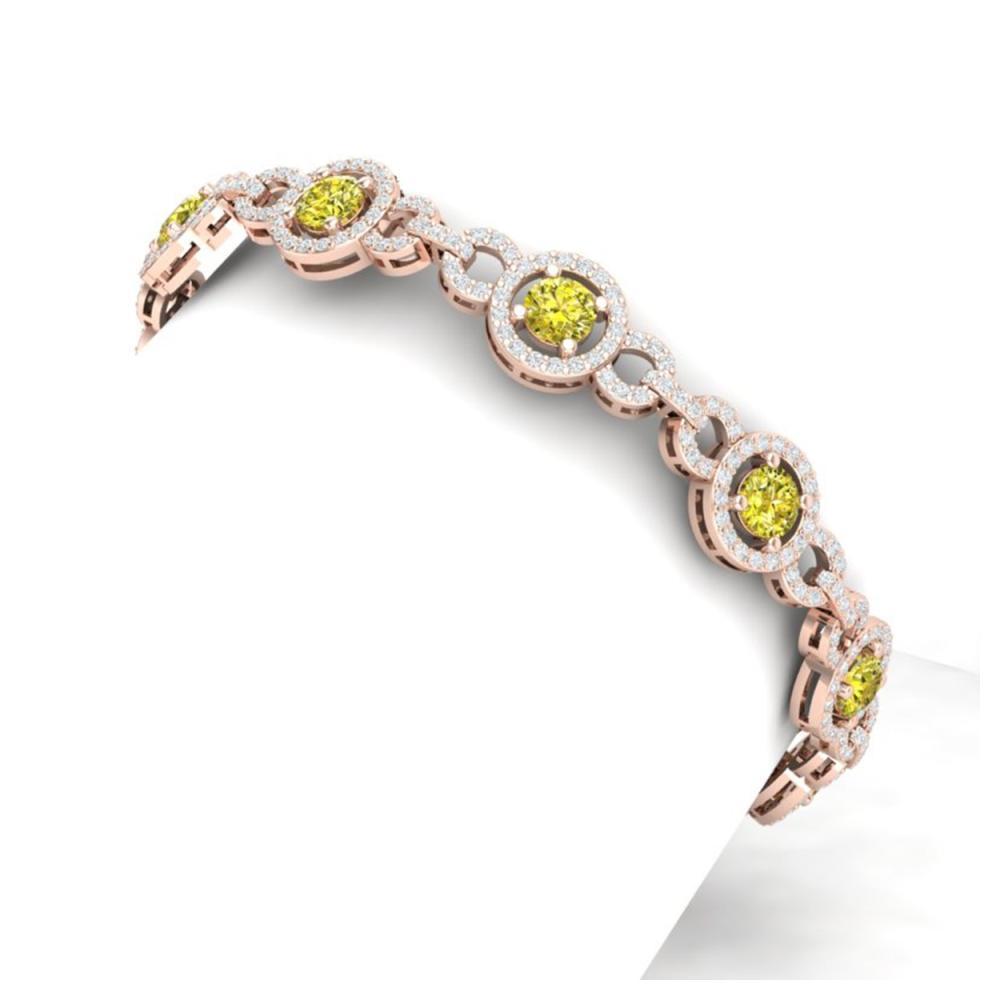 9 ctw SI/I Fancy And Diamond Bracelet 18K Rose Gold - REF-975V2Y - SKU:40092