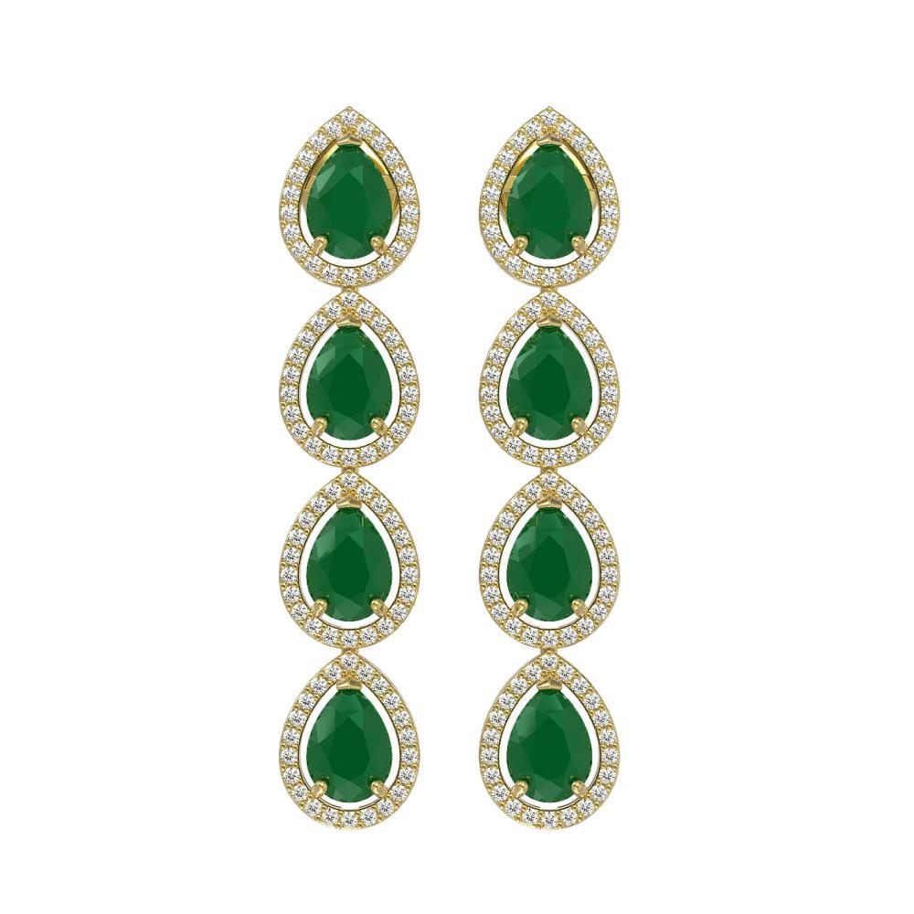 10.2 ctw Emerald & Diamond Halo Earrings 10K Yellow Gold - REF-155X5R - SKU:41140