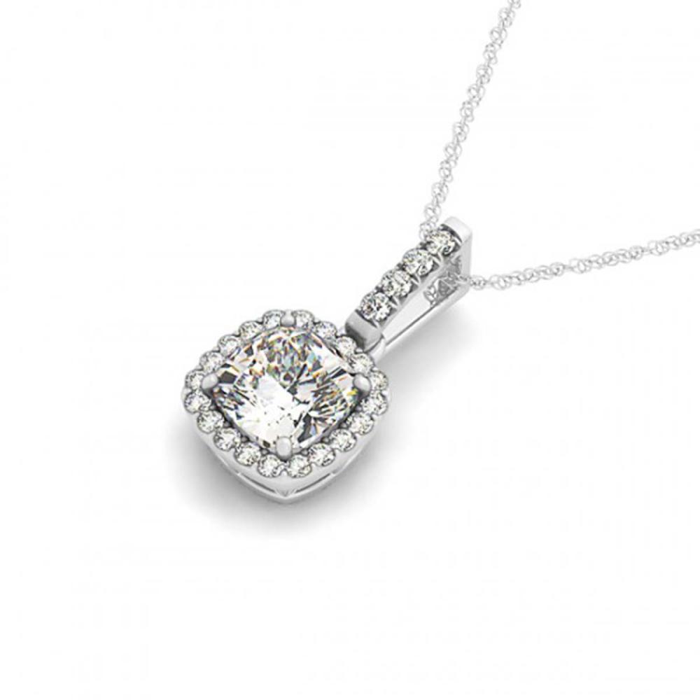 1.50 ctw VS/SI Cushion Cut Diamond Halo Necklace 14K White Gold - REF-448N9A - SKU:29969