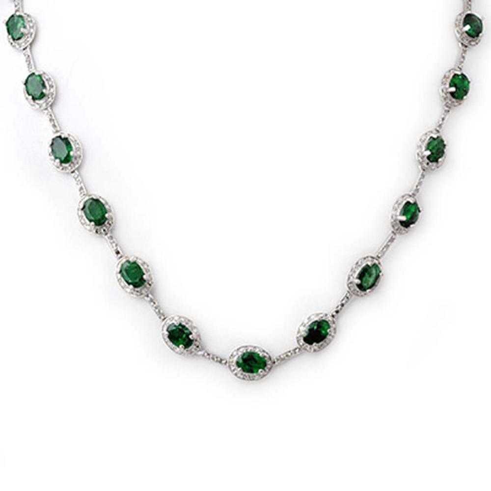 21.0 ctw Emerald & Diamond Necklace 14K White Gold - REF-252F2N - SKU:10418