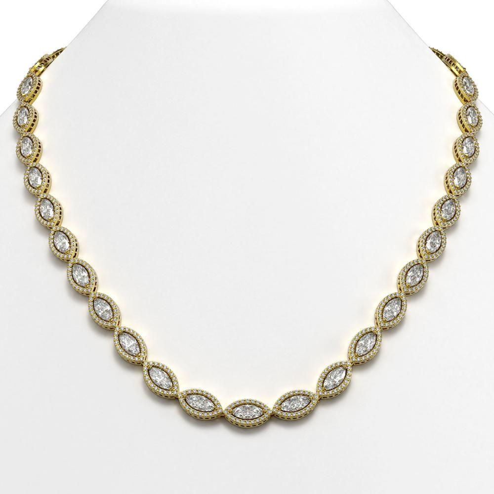 Lot 6114: 28.12 ctw Marquise Diamond Necklace 18K Yellow Gold - REF-3914Y5X - SKU:42742
