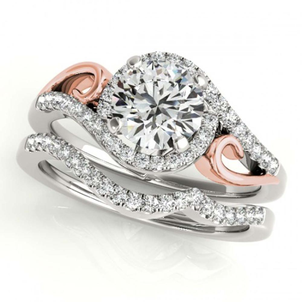 1.45 ctw VS/SI Diamond 2pc Set Solitaire Halo 14K White & Rose Gold - REF-283R8K - SKU:31209