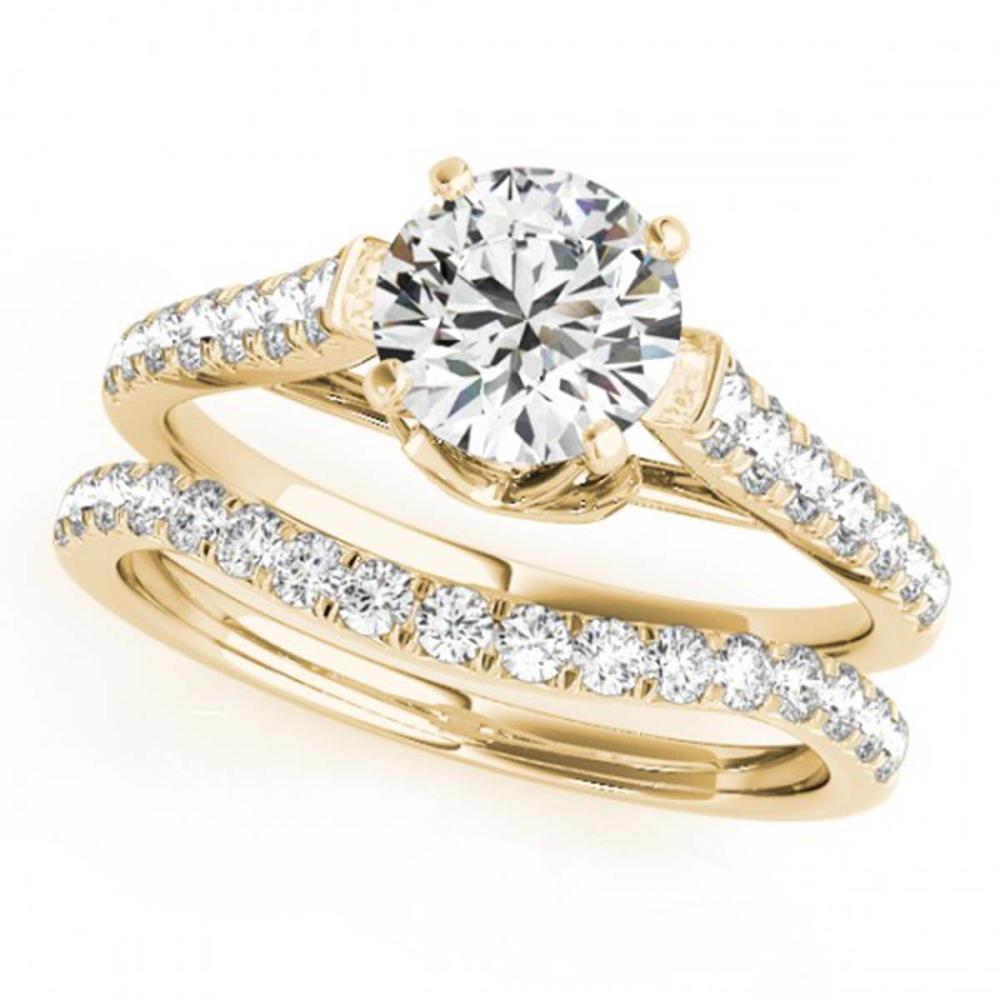 1.58 ctw VS/SI Diamond 2pc Wedding Set 14K Yellow Gold - REF-167X2R - SKU:31684