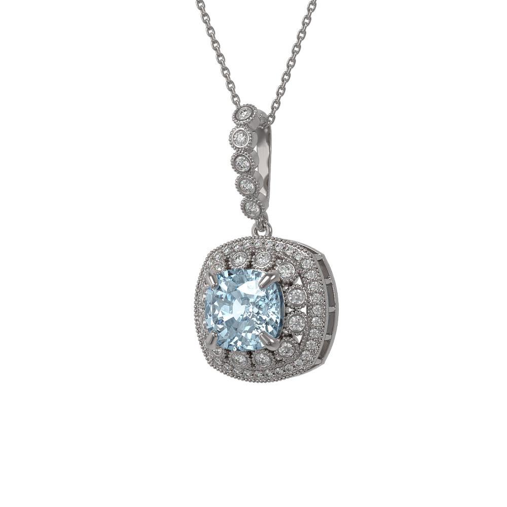 5.28 ctw Aquamarine & Diamond Necklace 14K White Gold - REF-162R9K - SKU:44012