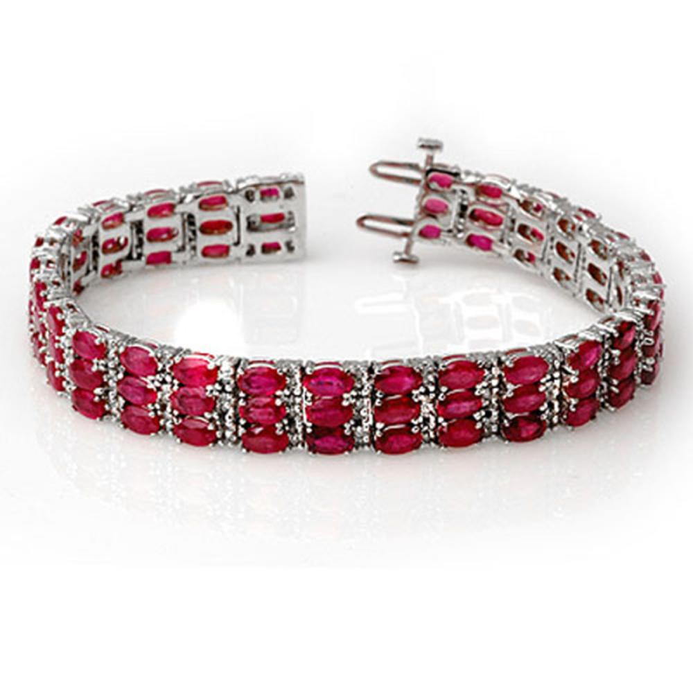 30.26 ctw Ruby & Diamond Bracelet 14K White Gold - REF-391Y3X - SKU:11546