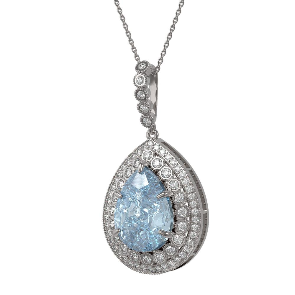 17.62 ctw Sky Topaz & Diamond Necklace 14K White Gold - REF-231X3R - SKU:43325