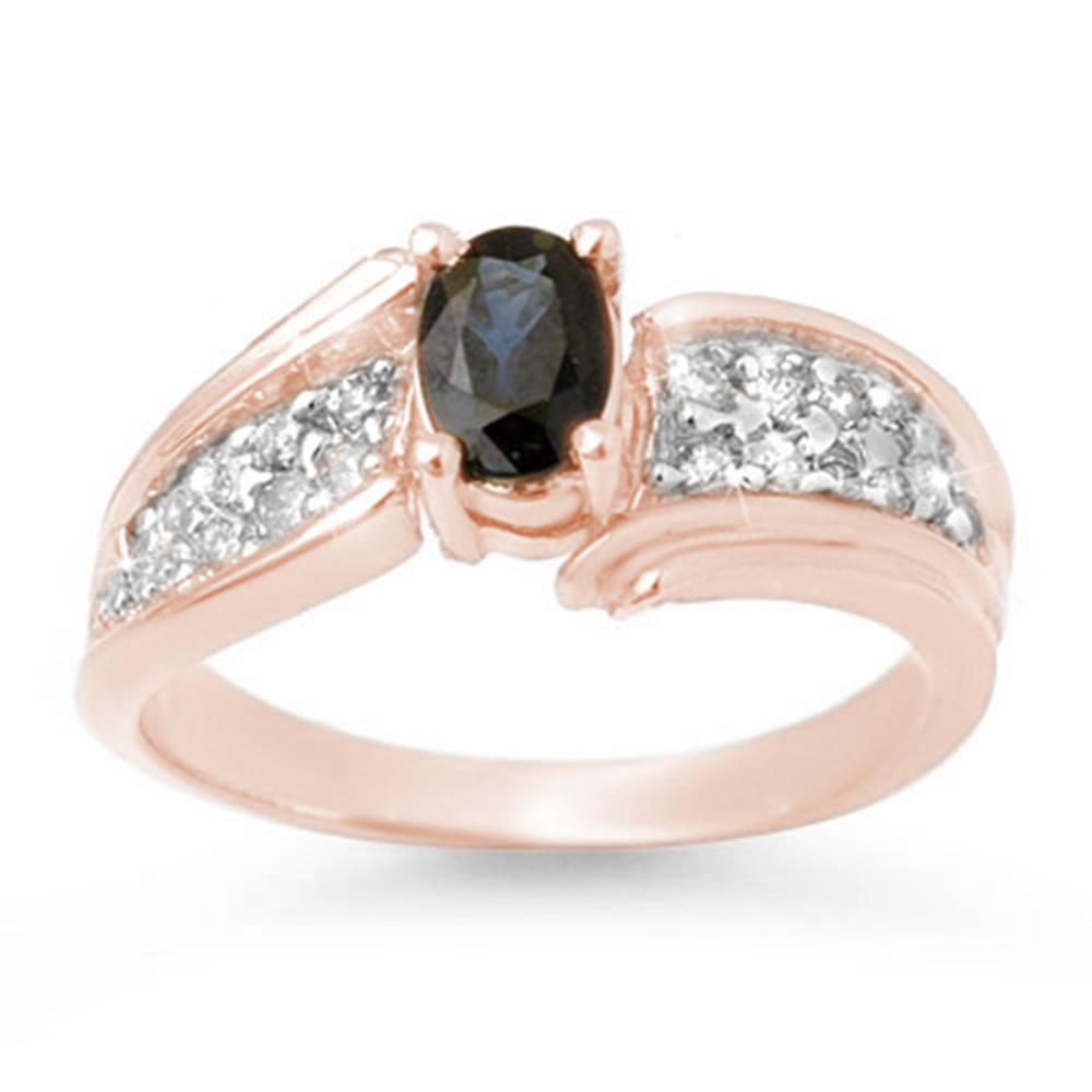 1.40 ctw Blue Sapphire & Diamond Ring 14K Rose Gold - REF-56R7K - SKU:13316