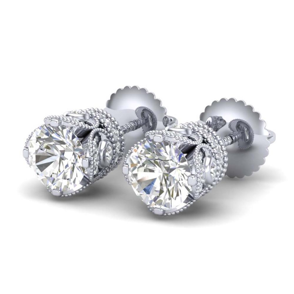 1.85 ctw VS/SI Diamond Solitaire Art Deco Stud Earrings 18K White Gold - REF-261M8F - SKU:36857