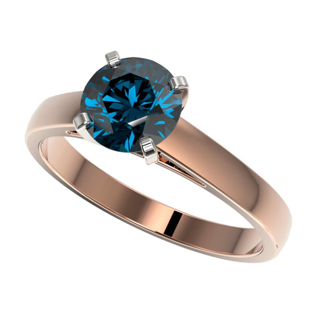 1.50 ctw Intense Blue Diamond Ring 10K Rose Gold - REF-210X2R - SKU:33026