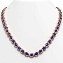 Lot 6113: 34.11 ctw Sapphire & Diamond Halo Necklace 10K Rose Gold - REF-672M7F - SKU:40407