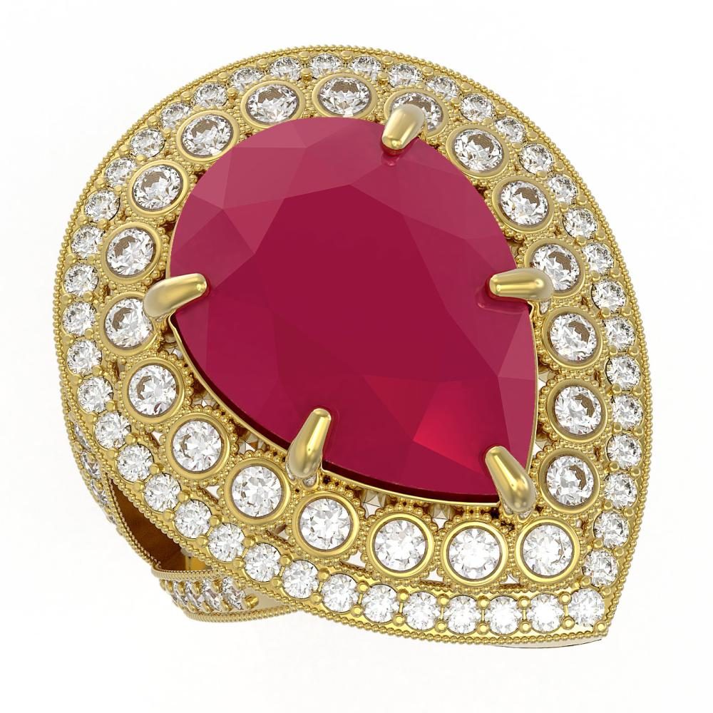 Lot 6117: 16.29 ctw Ruby & Diamond Ring 14K Yellow Gold - REF-350V4Y - SKU:43285